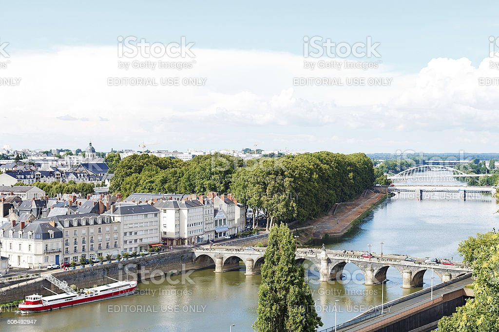 Monge Quai and bridges in in Angers city, France stock photo