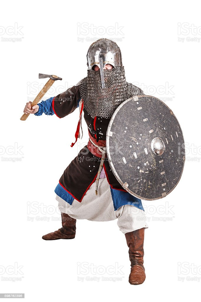 Mongol warrior in armour stock photo
