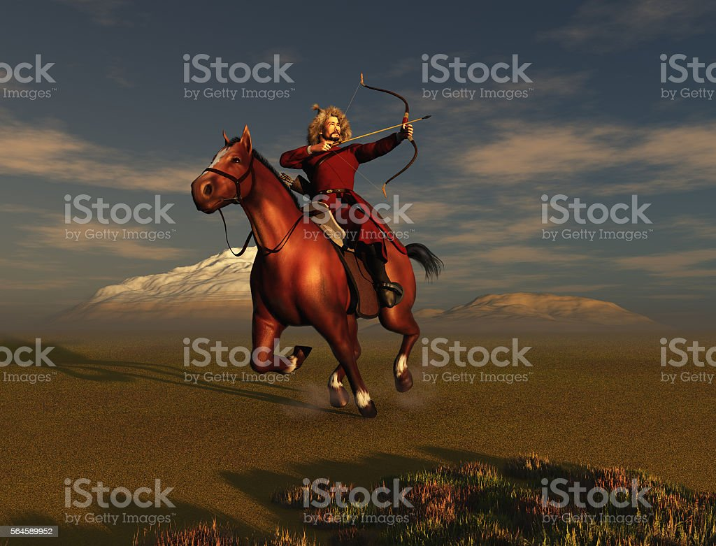 Mongol warrior stock photo