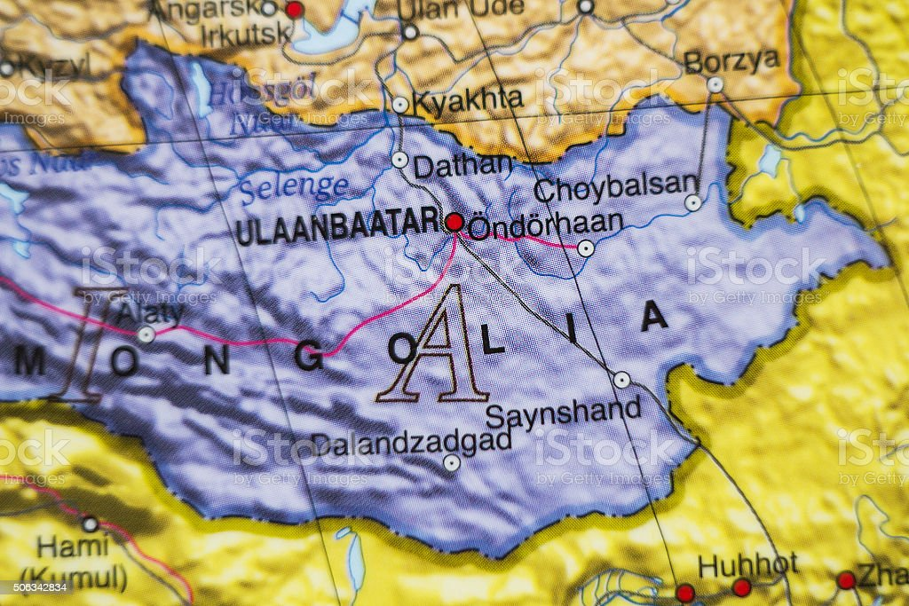Mongolia country map . stock photo