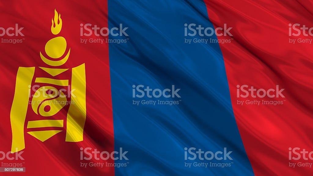 Mongolia Flag. 3d illustration stock photo