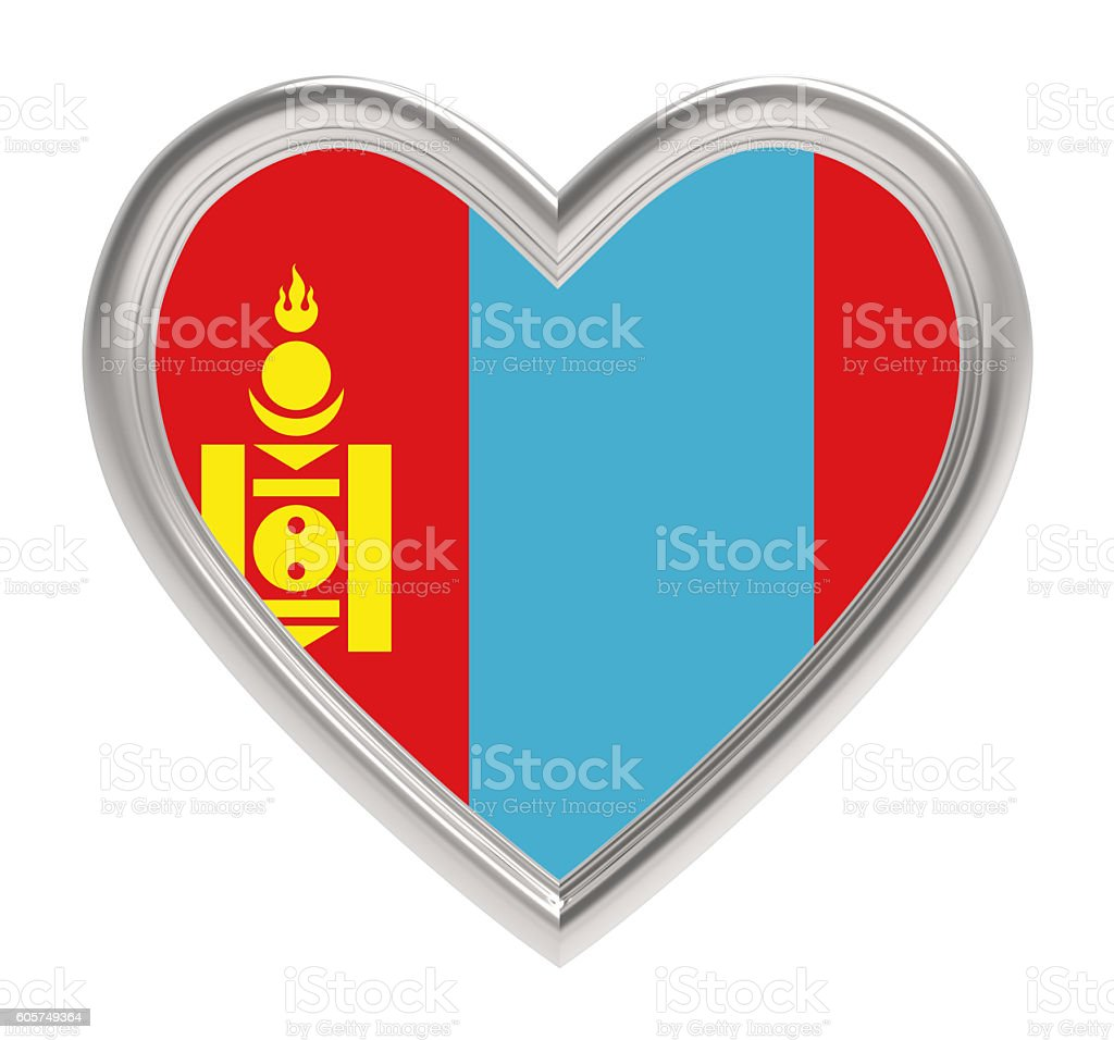 Mongolia flag in silver heart isolated on white background. stock photo