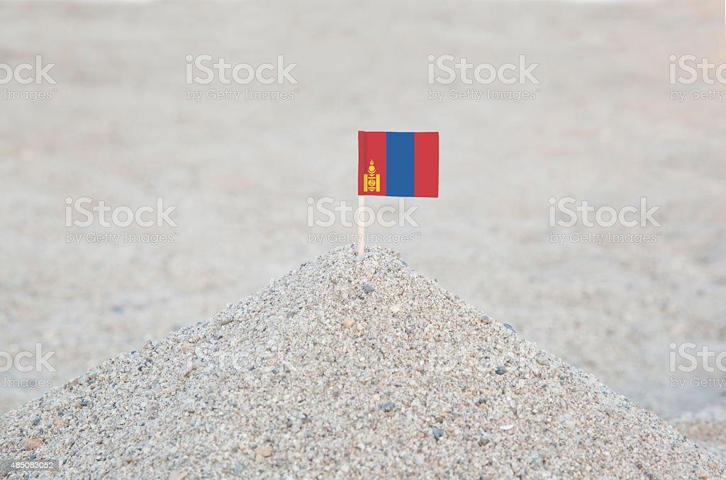 Mongolia Flag on the Beach stock photo