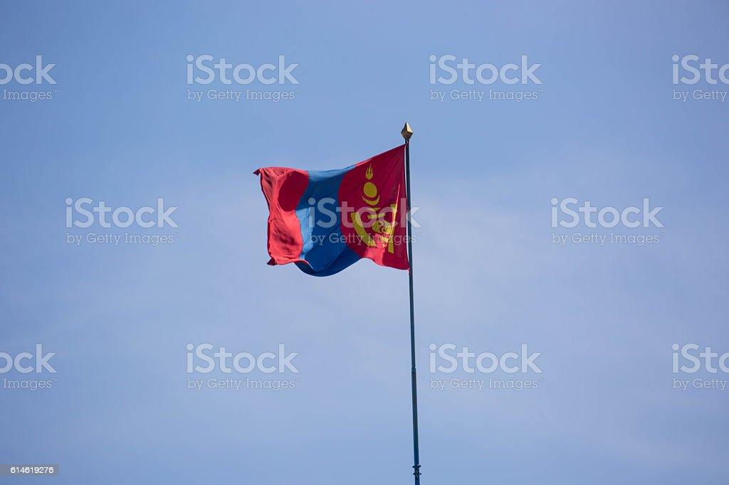 Mongolia: Flag over Ulan Bator stock photo