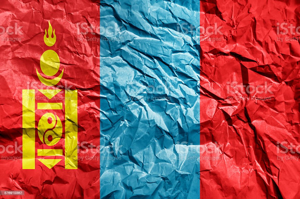 Mongolia flag painted on crumpled paper background stock photo