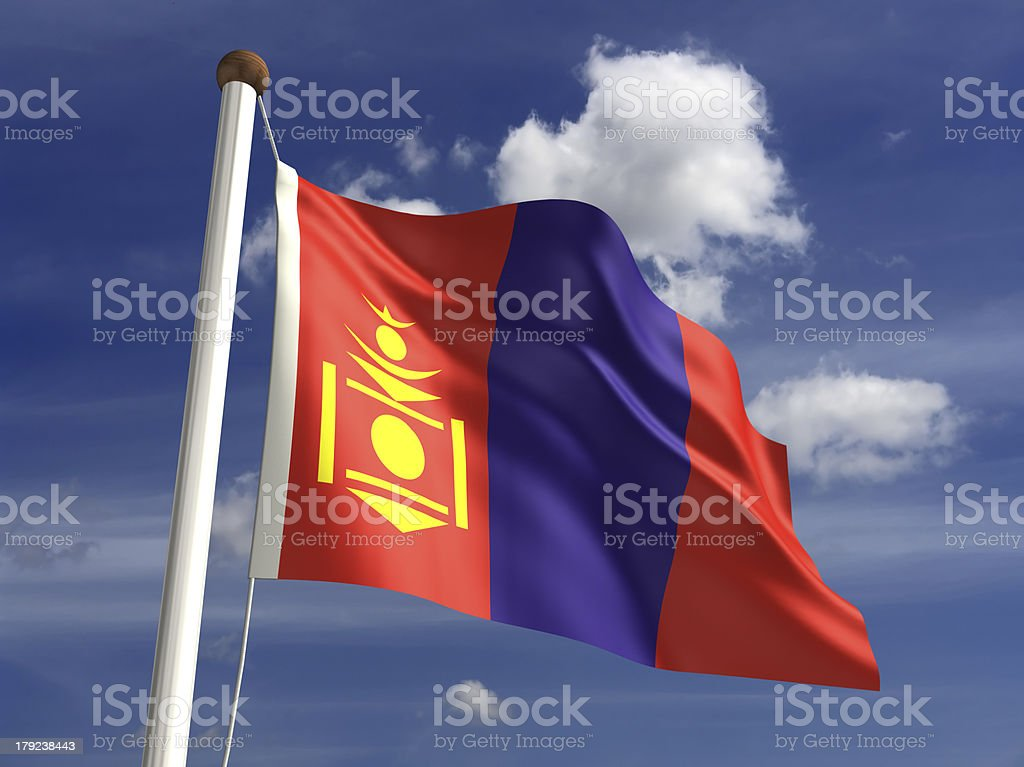 Mongolia flag (with clipping path) stock photo