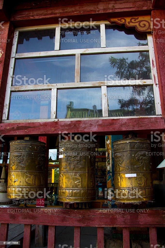 Mongolia: Gandan Monastery (Gandantegchinlen) in Ulan Bator stock photo