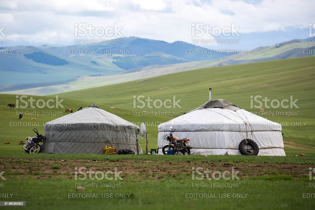 Mongolia: Gers In The Grasslands stock photo