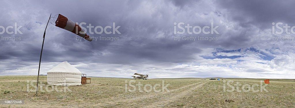 Mongolia grasslands airfield biplane yurt China royalty-free stock photo