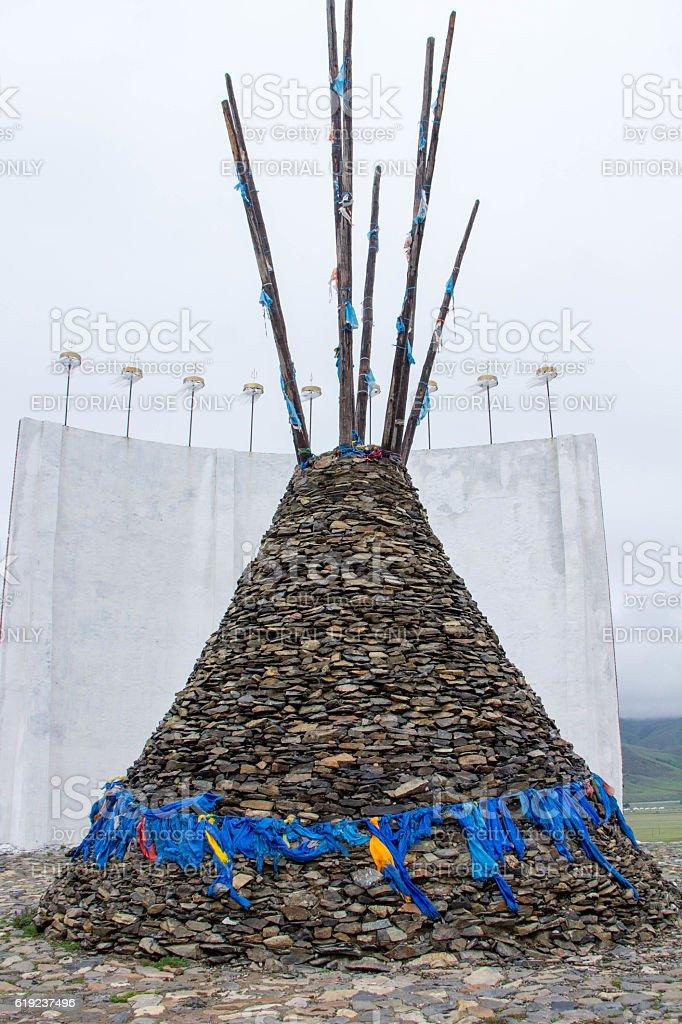 Mongolia: Monument for Mongol States in Kharkhorin stock photo