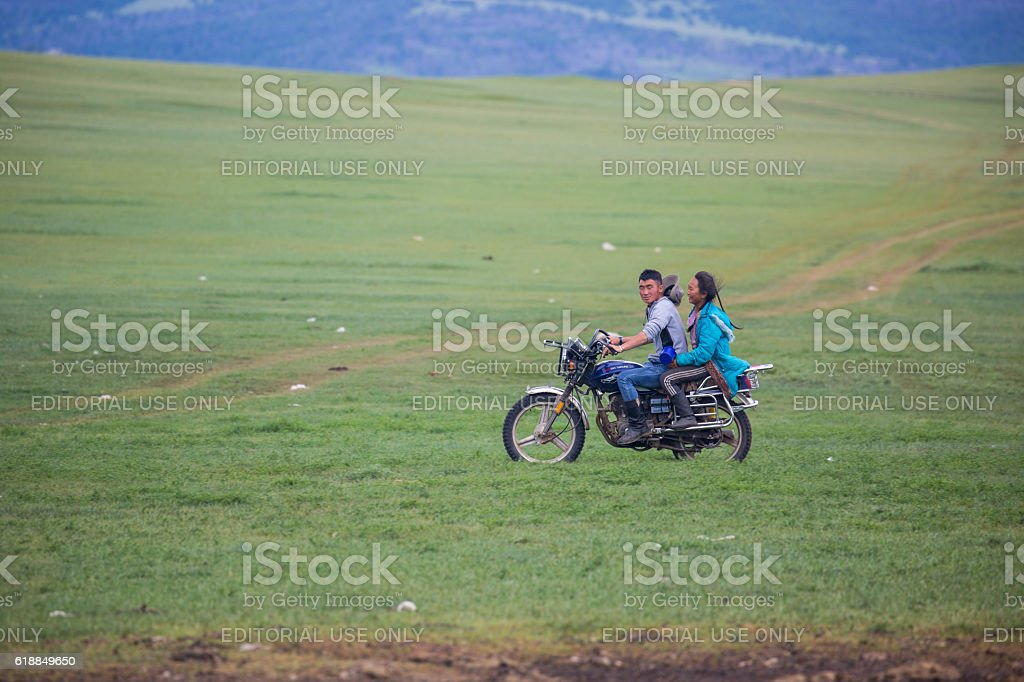 Mongolia: Motorcycle Ride stock photo