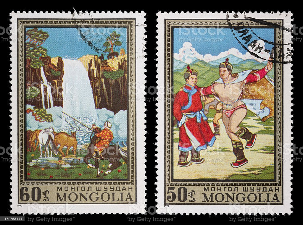 Mongolia paintings stamps (XXL) royalty-free stock photo