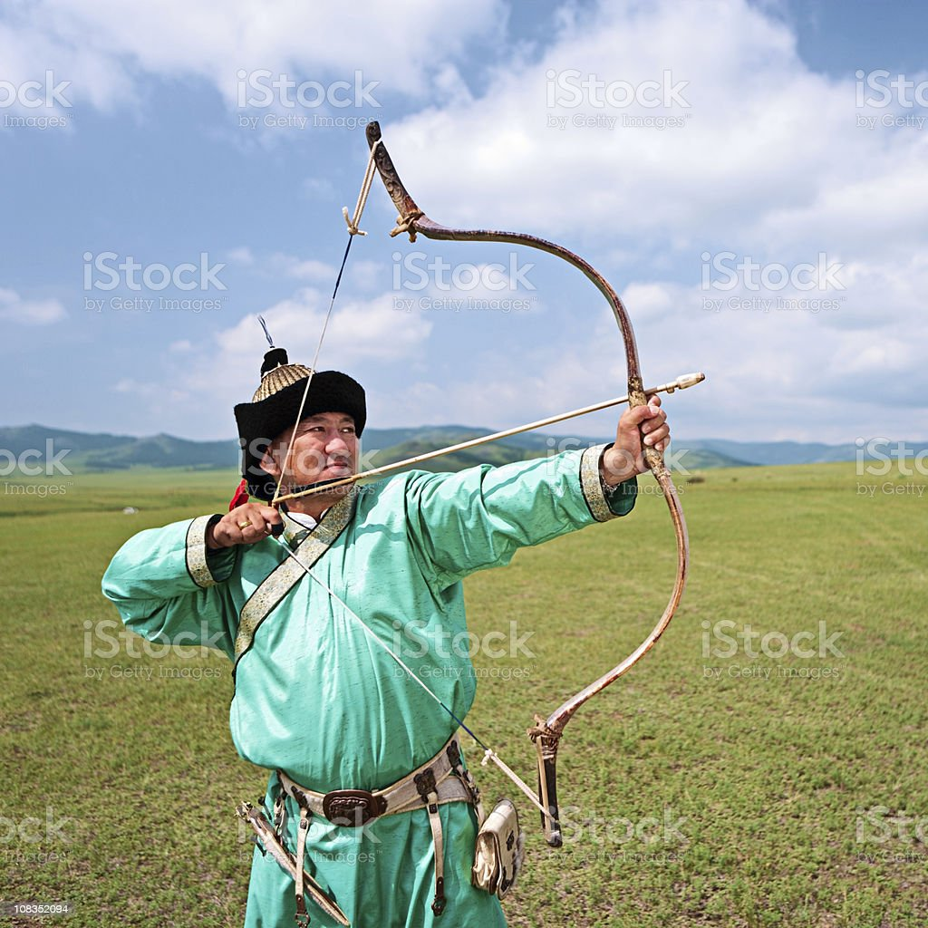 Mongolian archer royalty-free stock photo