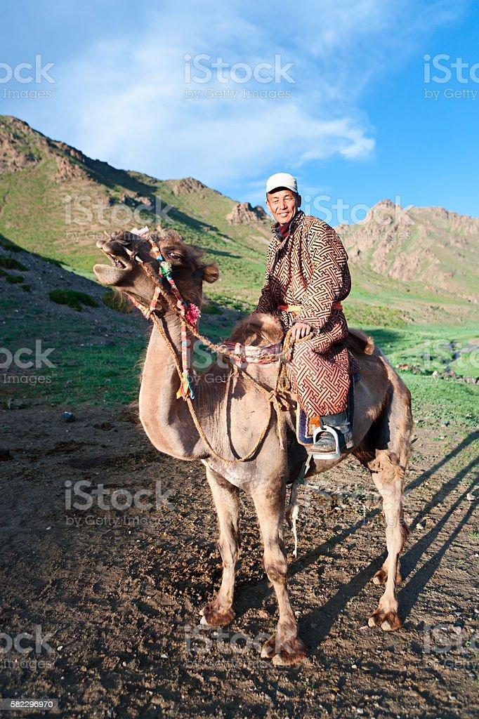 Mongolian camel rider, Southern Mongolia stock photo