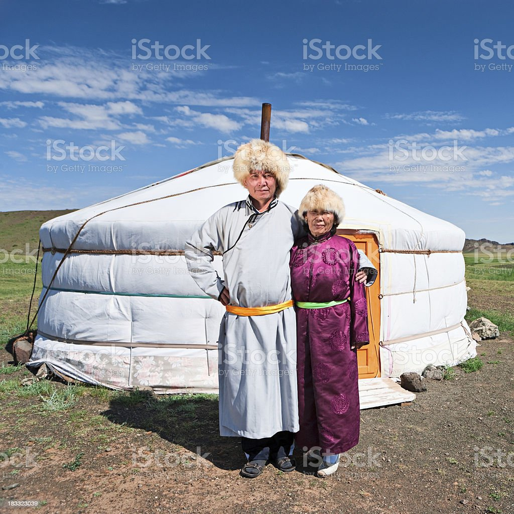 Mongolian couple in national clothing stock photo