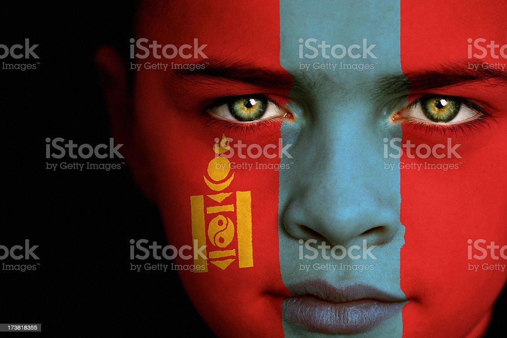 Mongolian flag boy stock photo