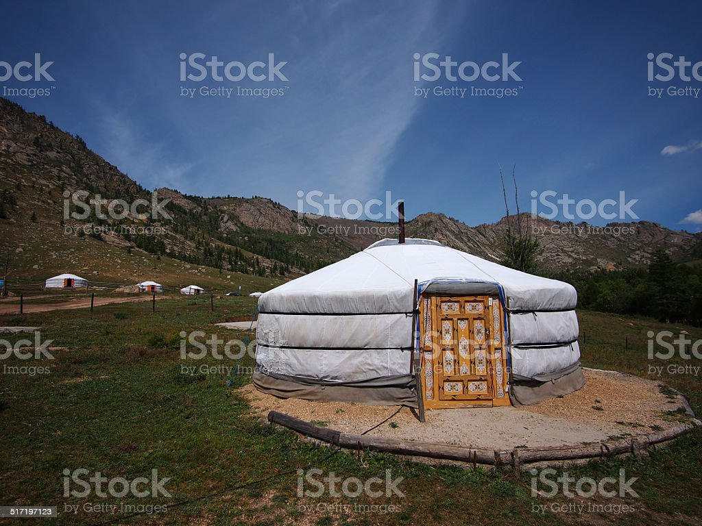 Mongolian gers,Terelj National Park stock photo