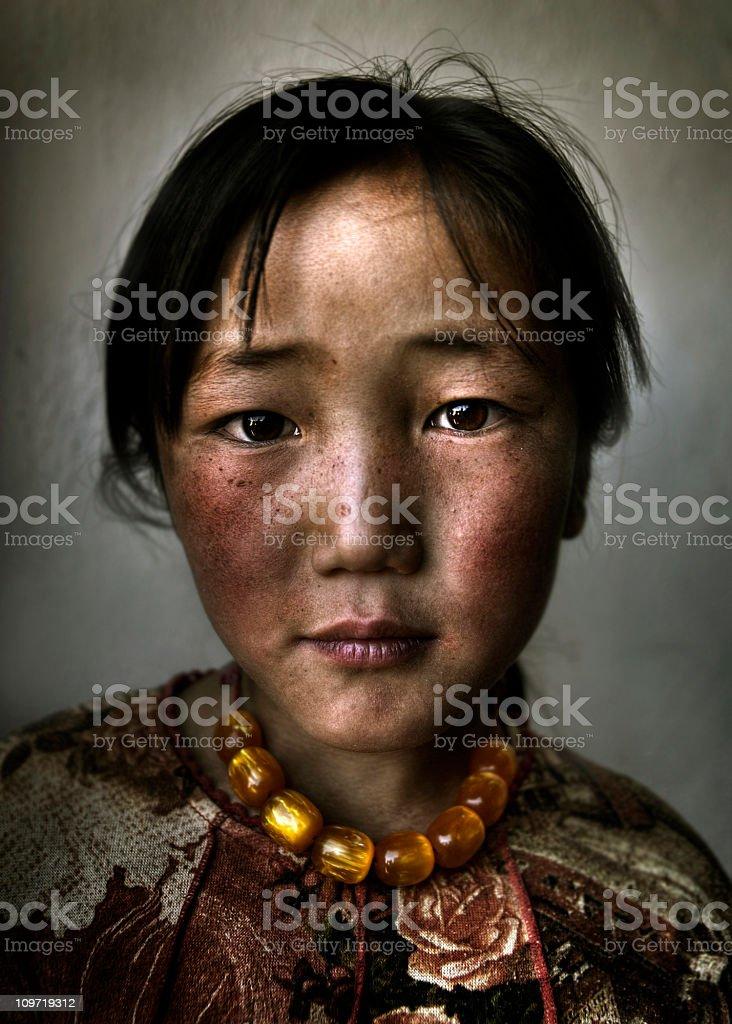Mongolian Girl Portrait royalty-free stock photo