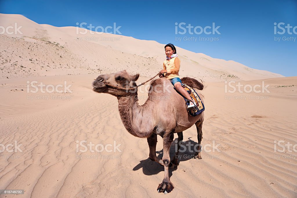 Mongolian girl riding on the camel, Gobi Desert stock photo