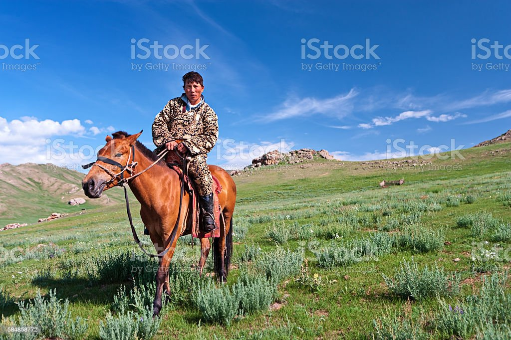 Mongolian horseback rider posing with his horse stock photo