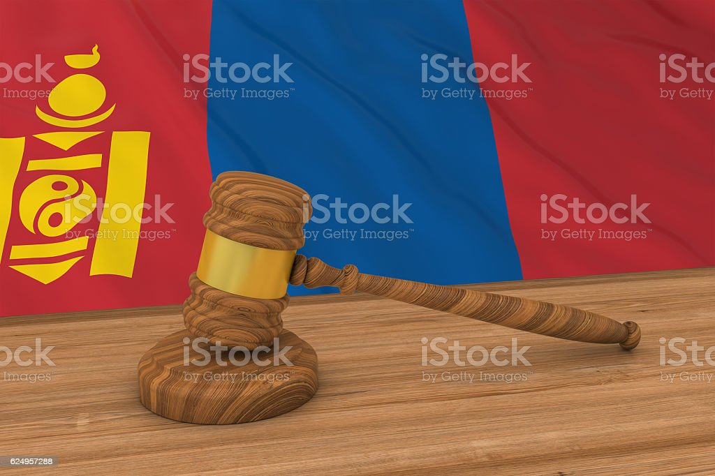 Mongolian Law Concept - Flag of Mongolia Behind Judge's Gavel stock photo
