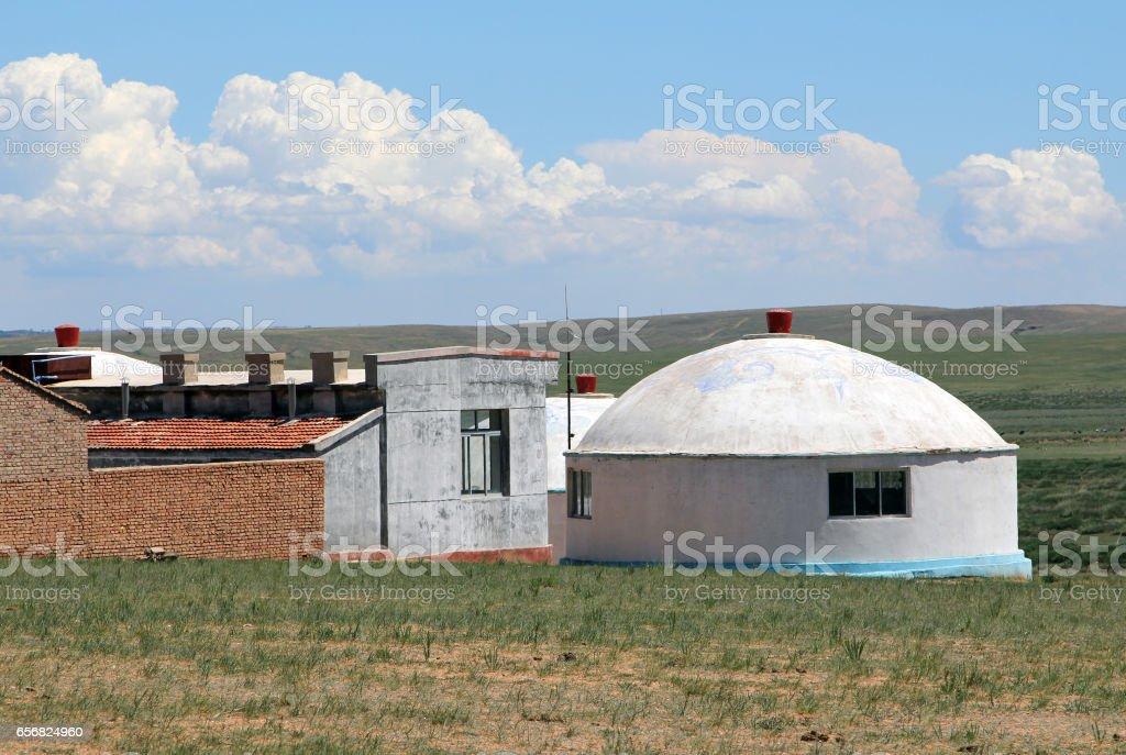 Mongolian modern yurt in steppe near Hohhot city, Inner Mongolia stock photo