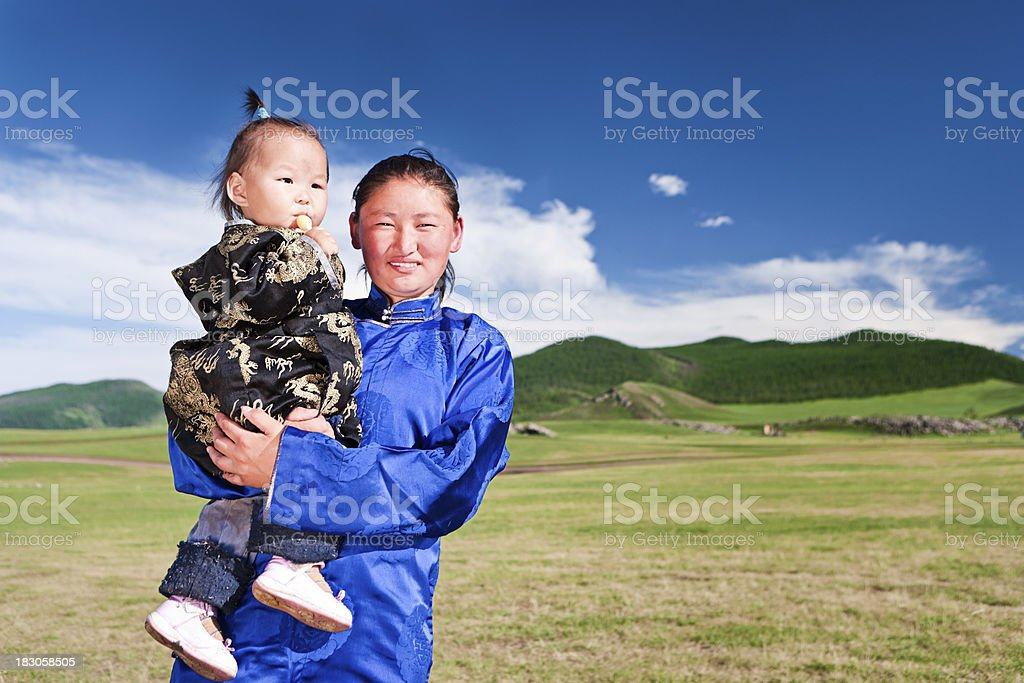 Mongolian mom and baby royalty-free stock photo
