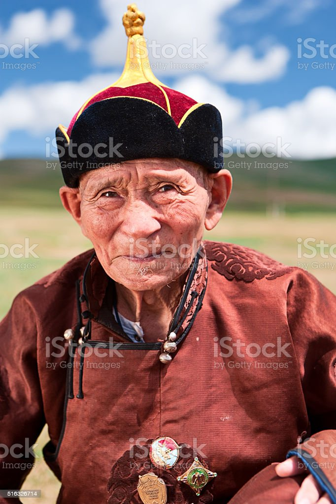 Mongolian old man in national clothing during Naadam stock photo