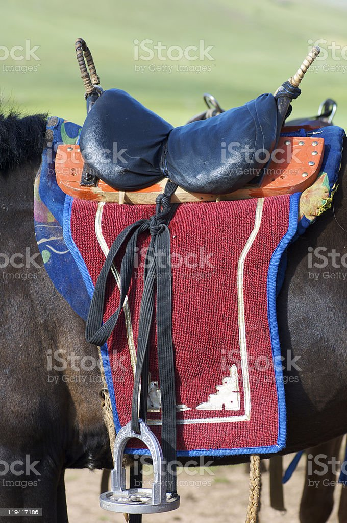 Mongolian saddle stock photo