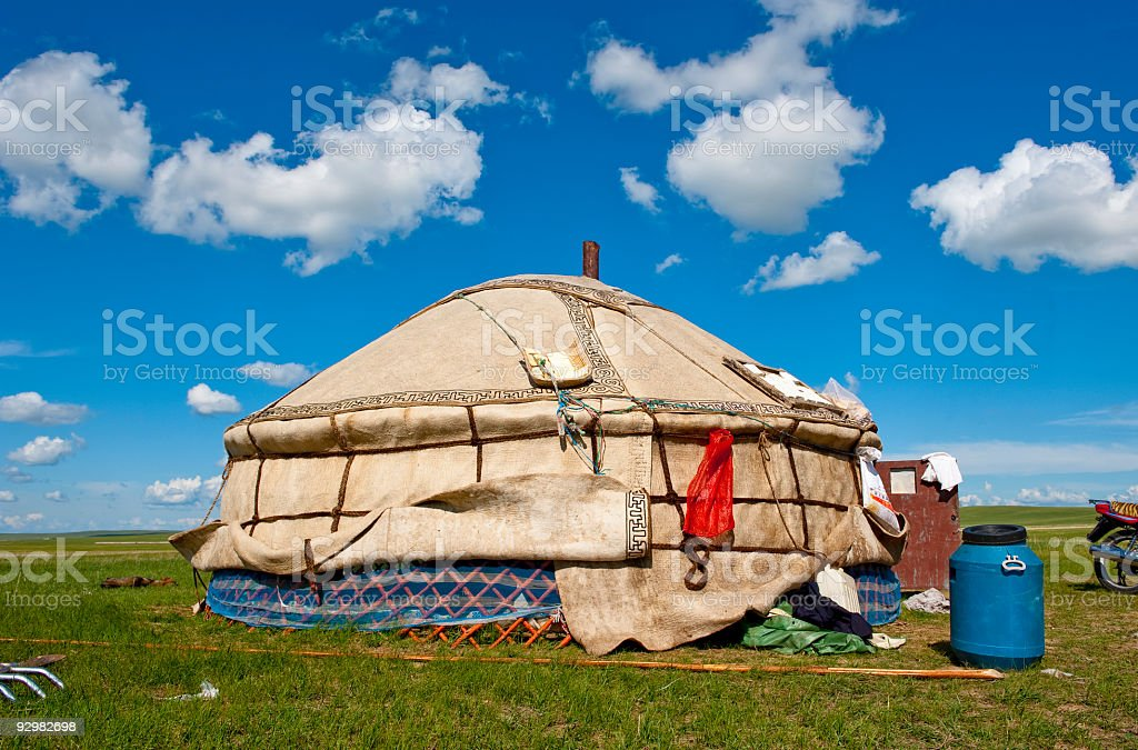 Mongolian tents under clear blue sky stock photo