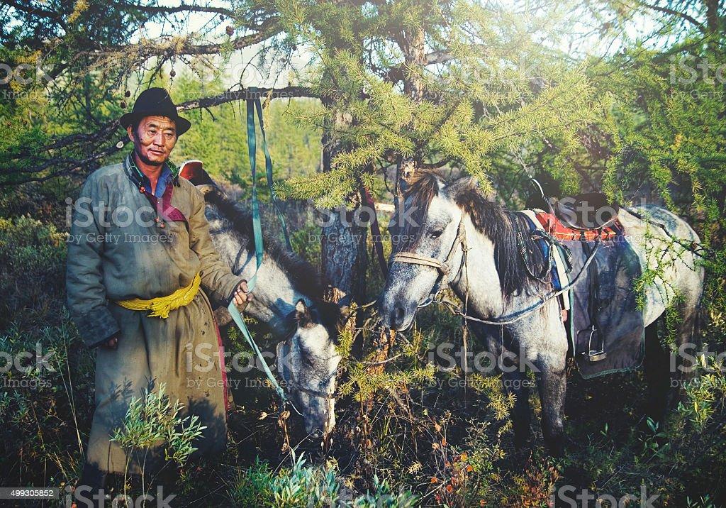 Mongolian Tsataan Horses Tranquil Solitude Nomadic Concept stock photo
