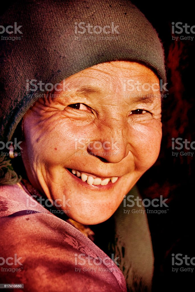 Mongolian Woman in Traditional Dress Culture Concept stock photo
