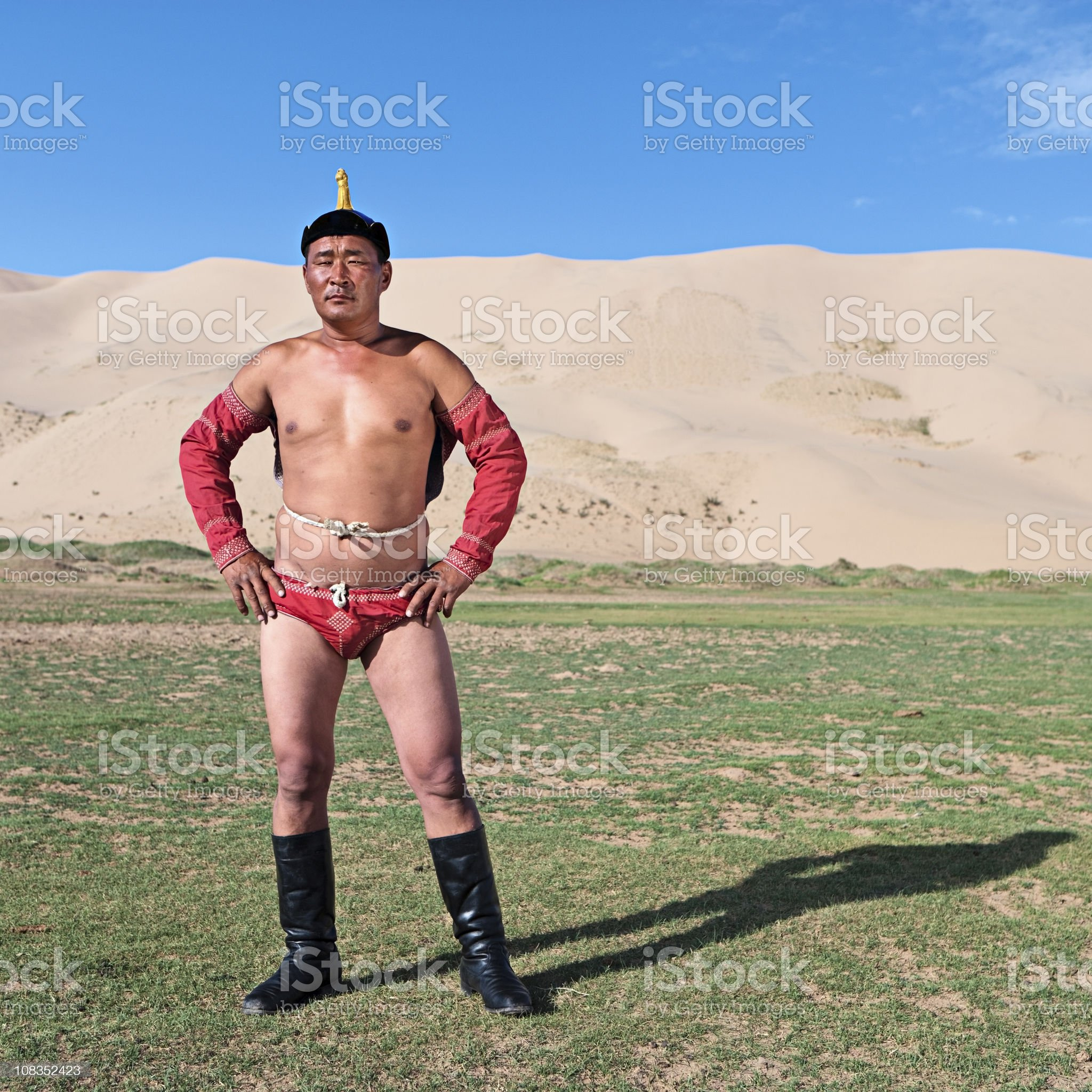 Mongolian wrestler royalty-free stock photo