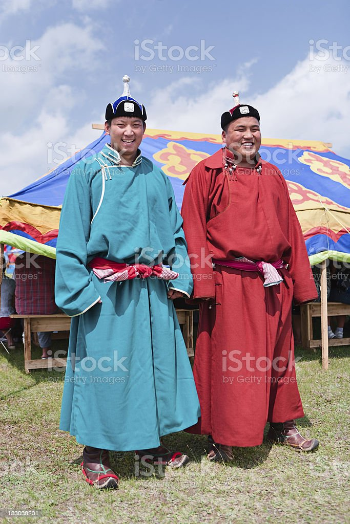 Mongolian wrestlers at Naadam festival. stock photo
