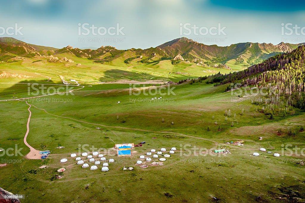 Mongolian Yourt Camp stock photo