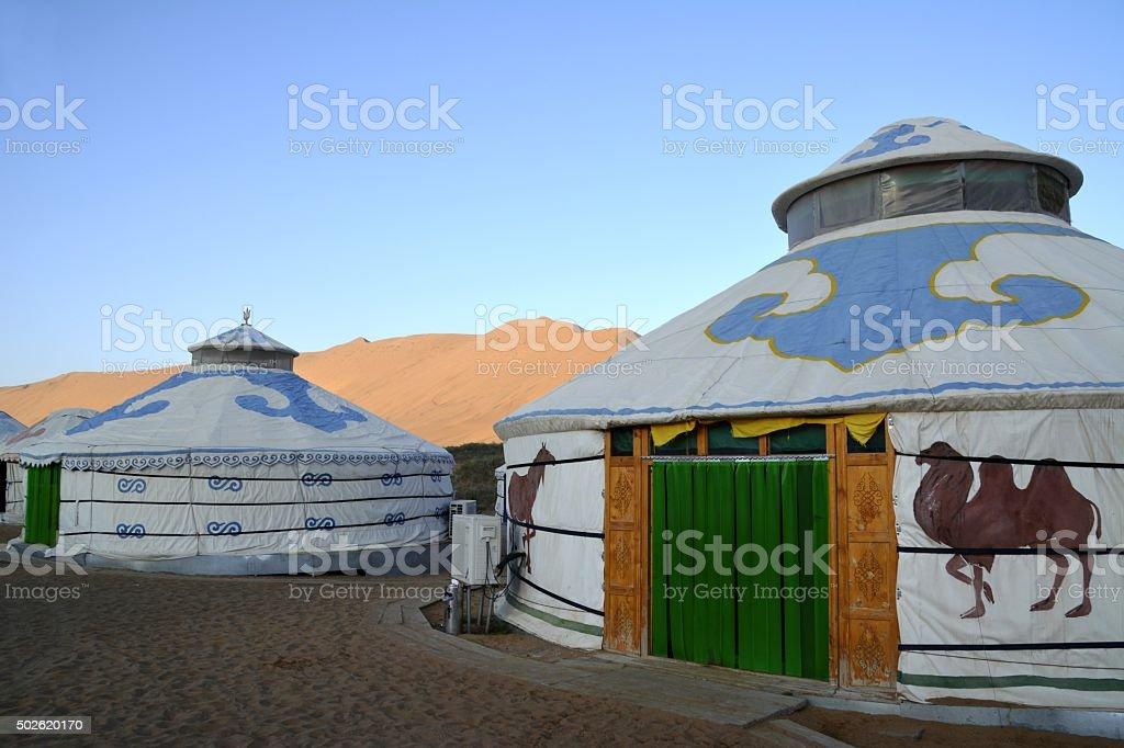 Mongolian Yurts in Badain Jaran desert, Inner Mongolia stock photo