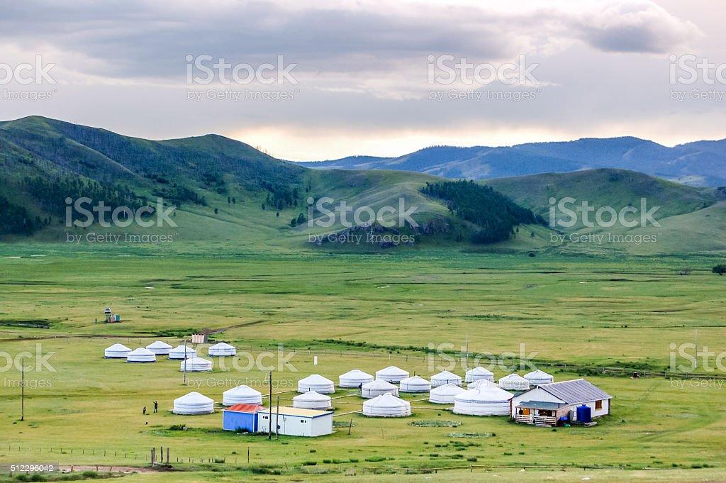 Mongolian yurts on steppe stock photo