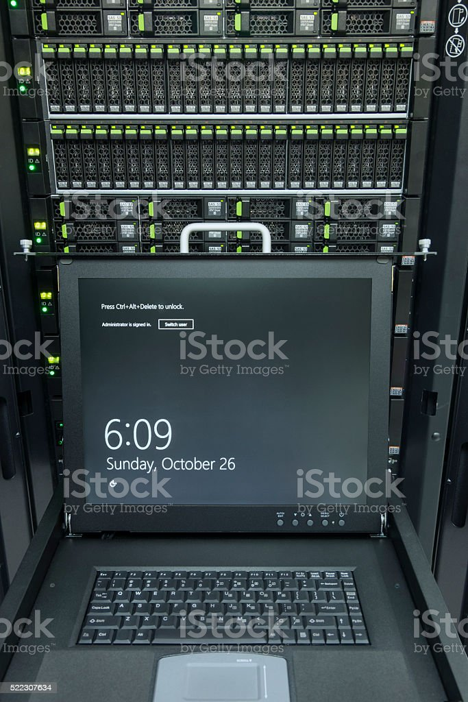 monitor console and server in data center stock photo
