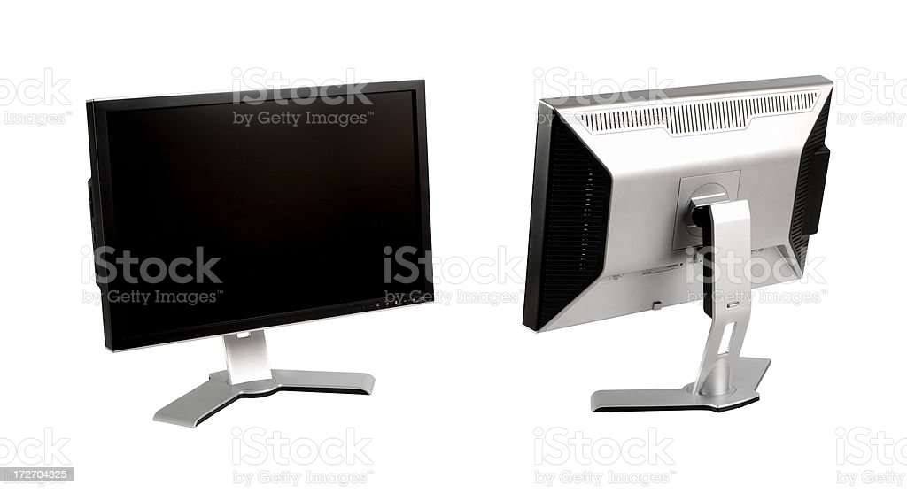 LCD Monitor Front Back with Clipping Path royalty-free stock photo