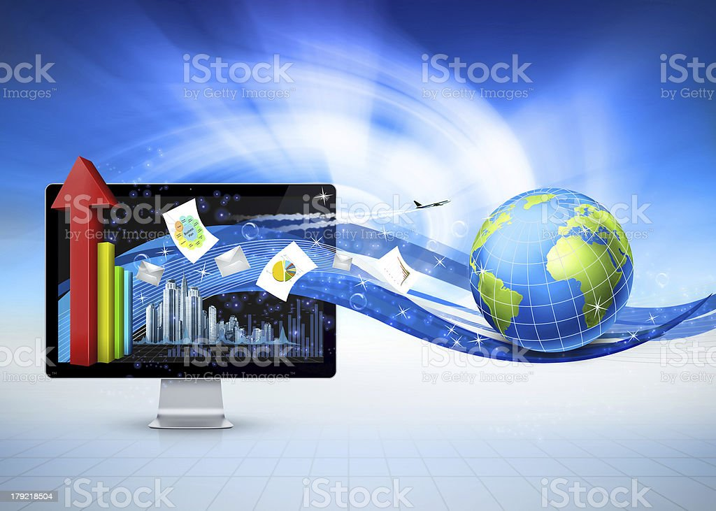 Monitor Globe Business background stock photo