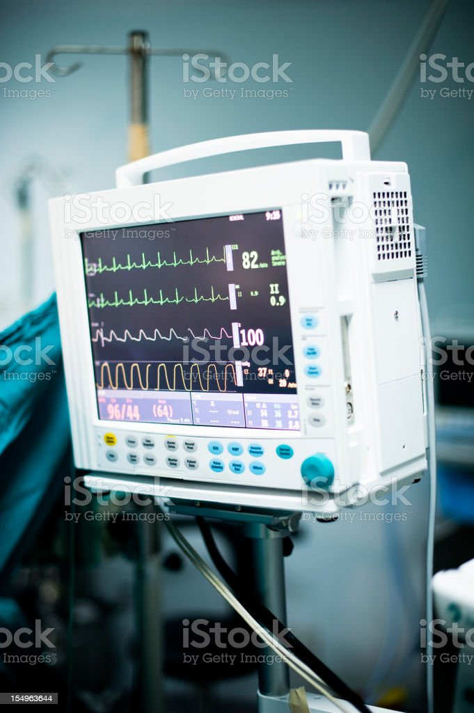 ECG Monitor in the operation room stock photo