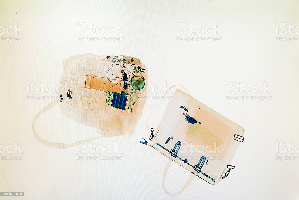 monitor picture of a security check x-ray at airport stock photo