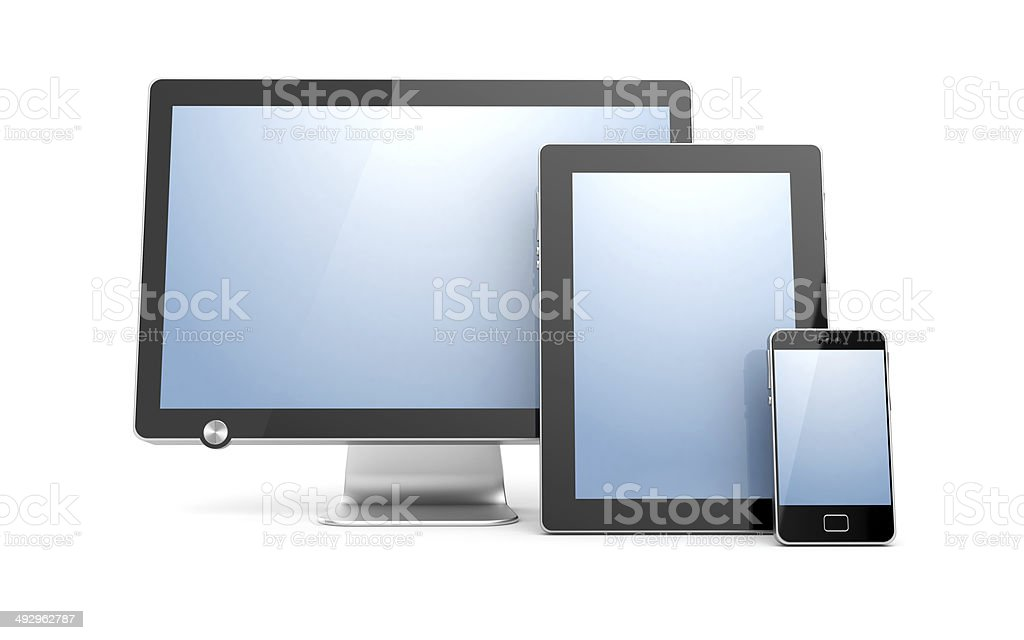 Monitor, tablet computer and mobile phone stock photo