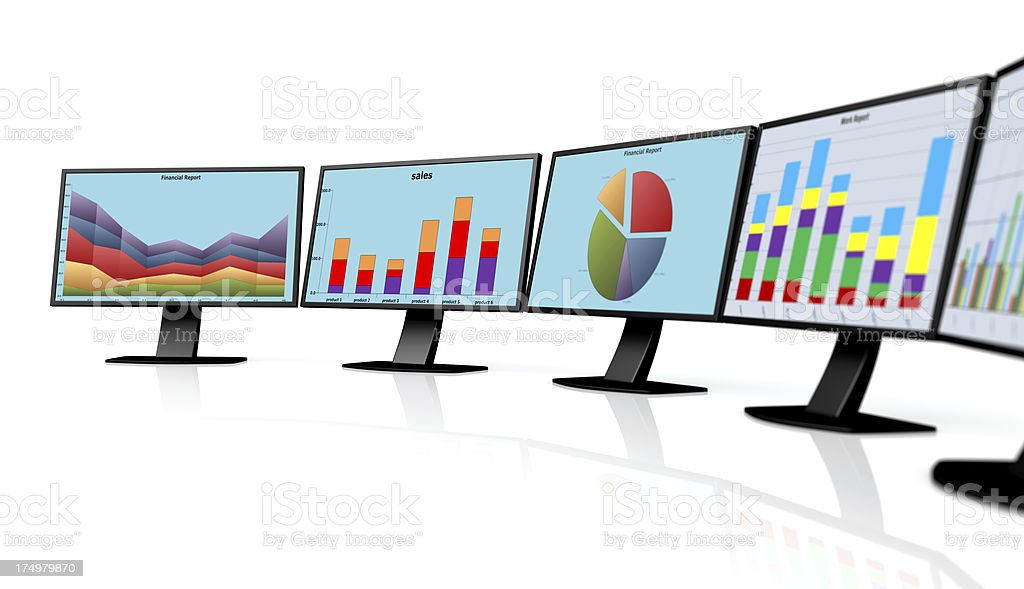 PC monitor with abstract business chart royalty-free stock photo