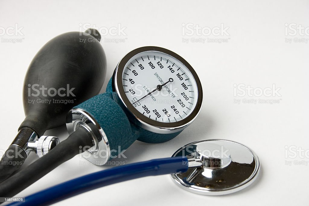 BP monitor with bulb and stethescope royalty-free stock photo