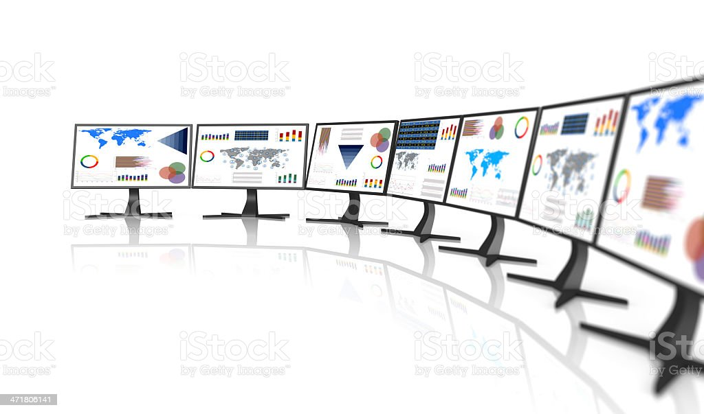 PC monitor with business chart royalty-free stock photo