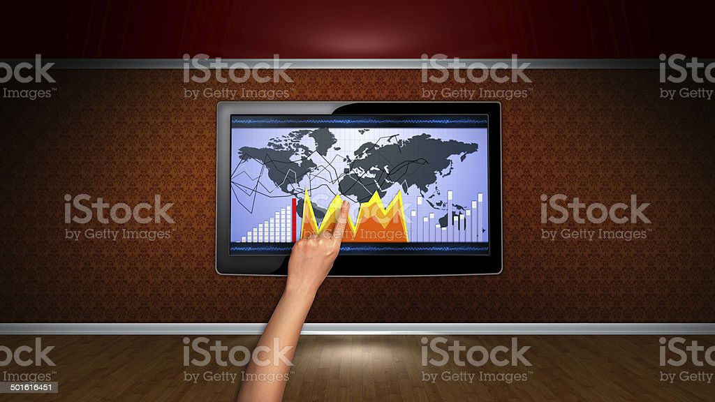 Monitor with Business Concept stock photo