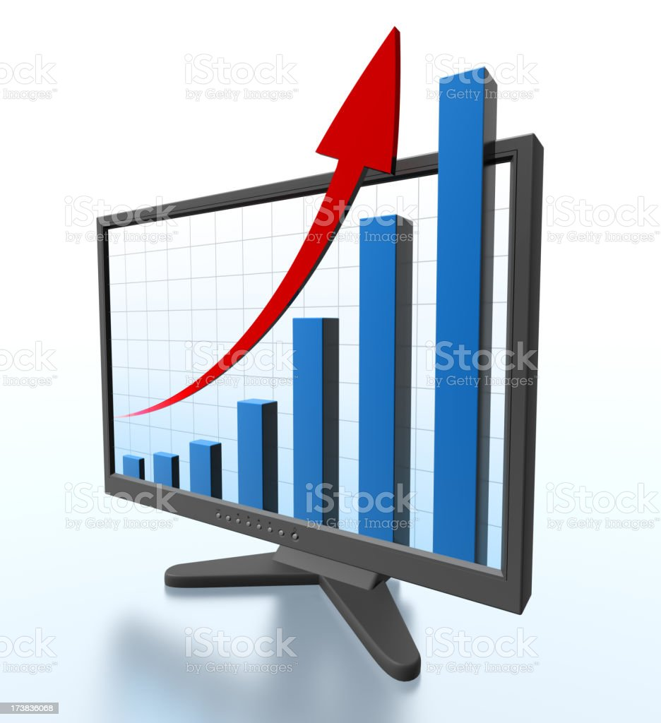 Monitor with graph shooting off screen - Clipping path stock photo