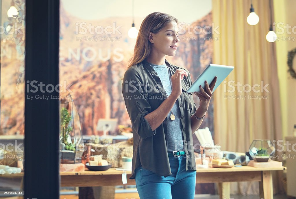 Monitoring daily store operations with modern technology stock photo
