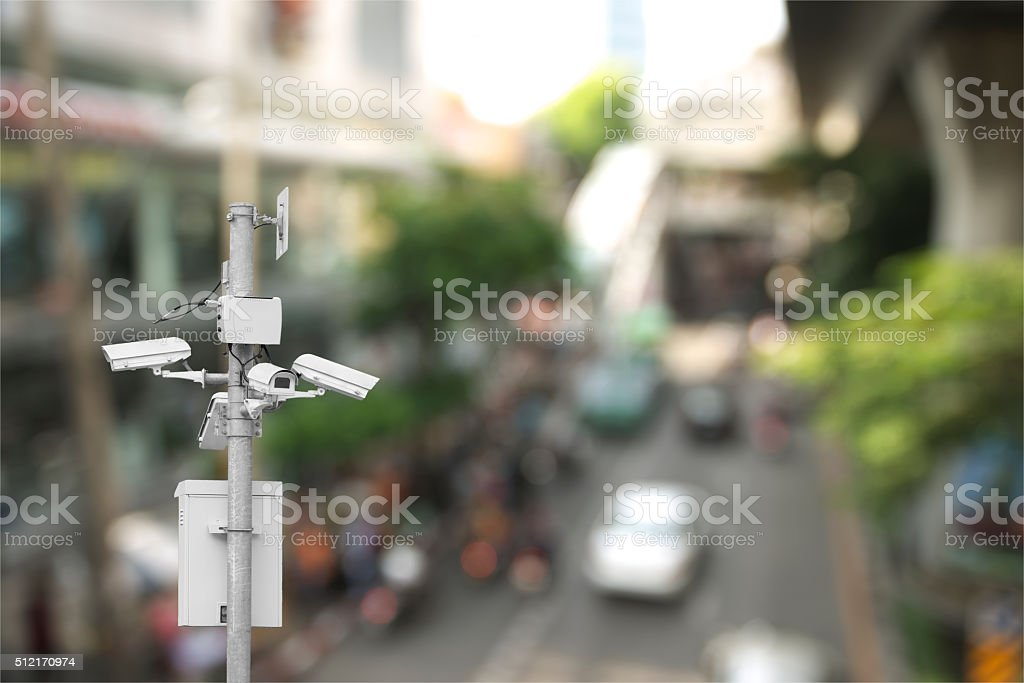 CCTV monitoring road stock photo